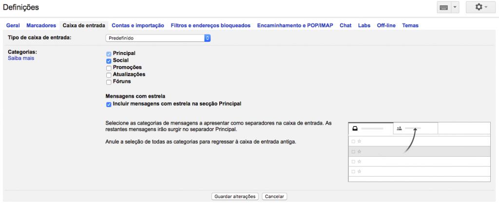 """Uso de Checkboxes para configuração da caixa de Gmail. Após selecionar há necessidade de um """"Guardar Alterações"""" anteriormente efetuadas. by Google."""